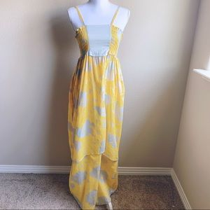 Tulle yellow and gray maxi dress